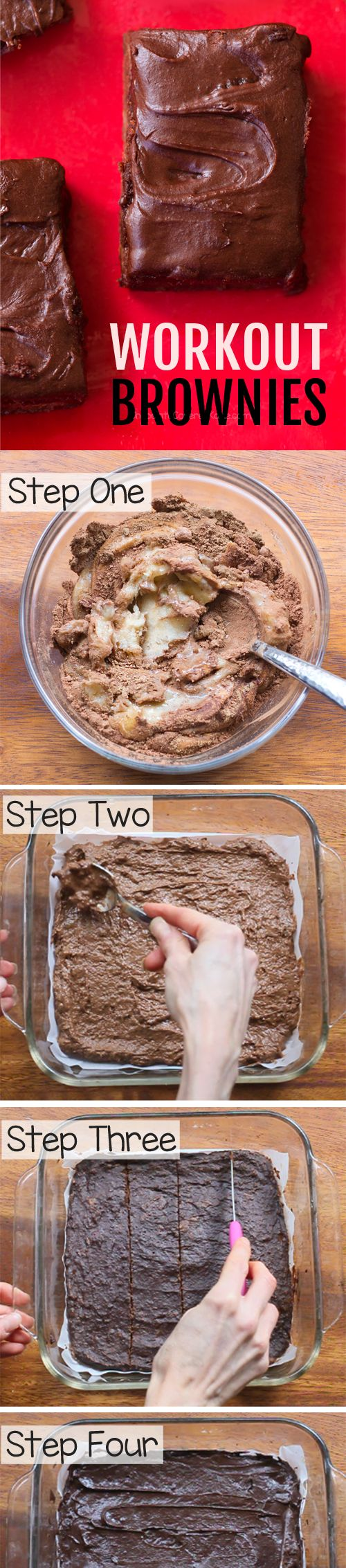 Chocolate Workout Brownies, with NO flour, no sugar or oil, and healthy