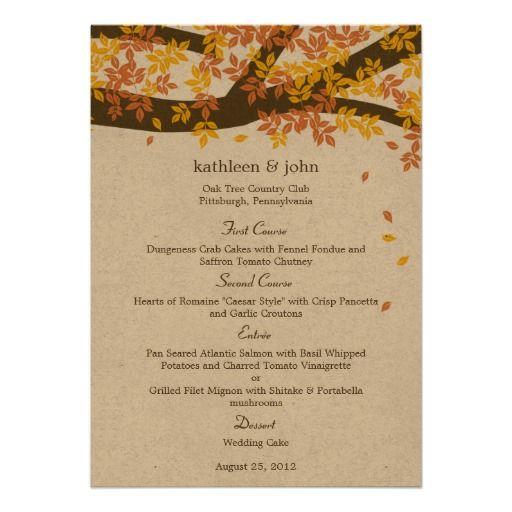 Oak Tree Fall Wedding Menu Card Custom Invitations