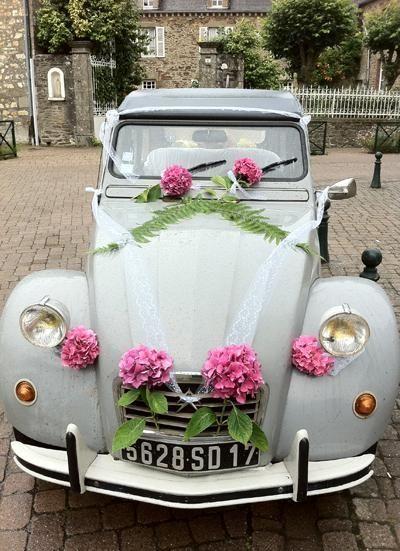 Une déco pour voiture de mariage http://www.vintagevinylcds.com ...
