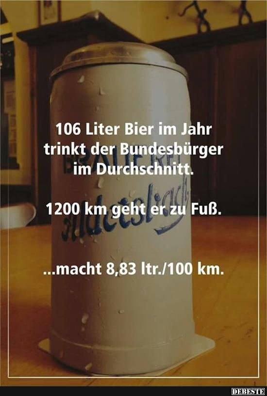 106 Liter Bier im Jahr trinkt der Bundesbürger...
