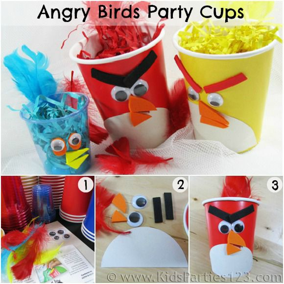 Angry Birds party cups - craft activity