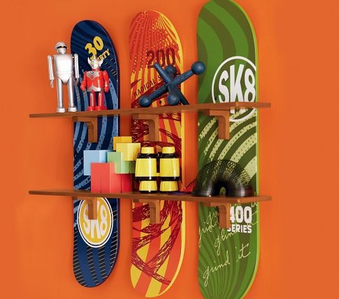 Perfect for a skateboard themed nursery :) I would have the hubby make our own using real skateboard brands with funky designs.