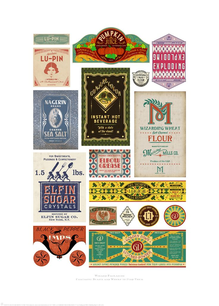 Wizard packaging; these were designed by MinaLima for the props used in the Harry Potter films and now the Fantastic Beasts series.