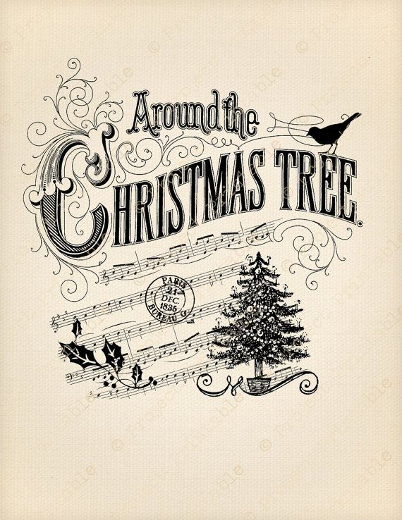 Christmas Tree Printable Image Transfer - Great for wood, fabric, canvas, burlap - Instant Digital Download - Downloadable Scrapbooking and Digital Collage Graphics - Vintage Inspired Clip Art