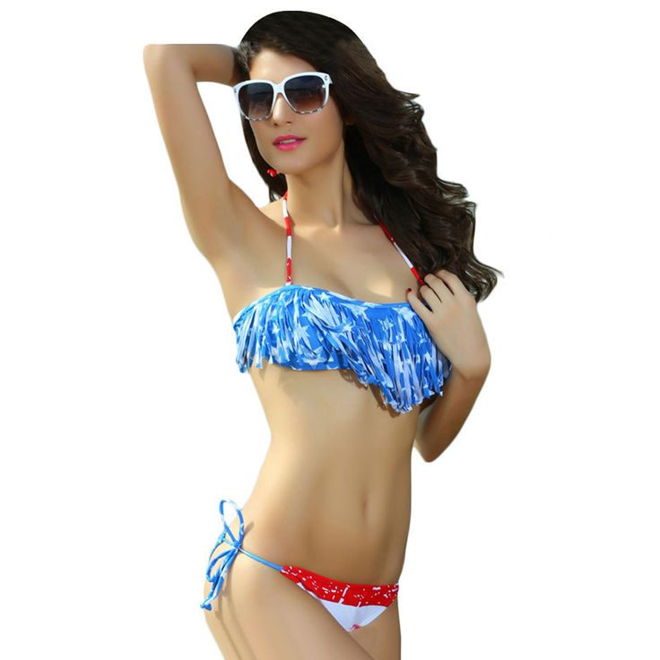 Tassel American Flag Bandeau Bikini Stars and Stripes Swimsuit
