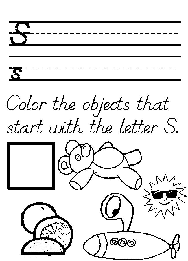 Letter S Worksheets and Coloring Pages for Preschoolers