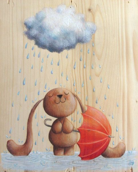 Bunny Ciacio and the rain. Red umbrella and cloud. Original painting on wood, by Sarah Khoury