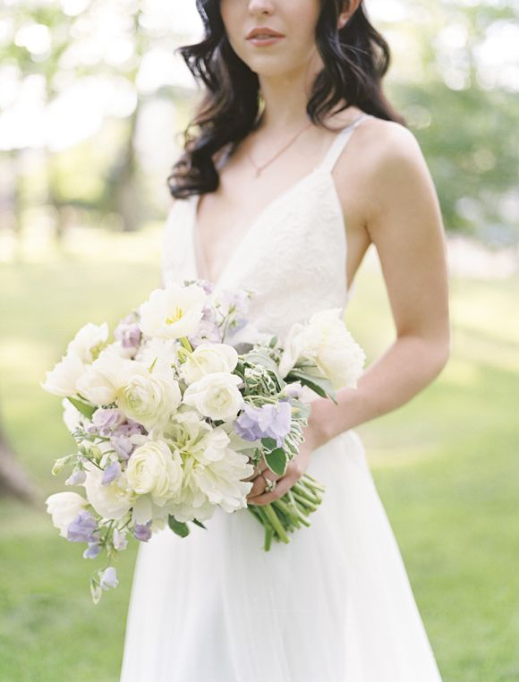 Cream and lilac wedding bouquet (Florals: Petals Couture) - Modern lavender and copper wedding ideas by Birds of A Feather Events (Stylist) + Ben Q Photography - via Magnolia Rouge