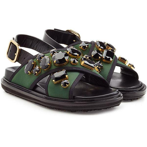 Marni Embellished Flat Sandals ($780) ❤ liked on Polyvore featuring shoes, sandals, multicolor, fringe flat sandals, chunky-heel sandals, colorful sandals, multi color sandals and fringe shoes