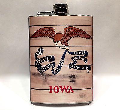 Vintage Wood Iowa State Flag Flask 8oz Metal Cornhusker Drinking College Games