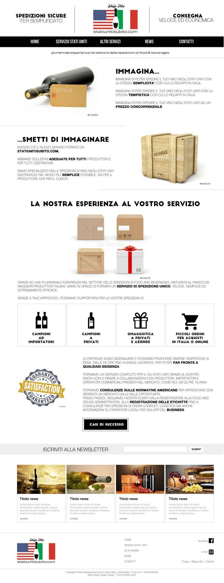 Bozza grafica per statiunitisubito.com Il logo mi è stato fornito dall'azienda.
