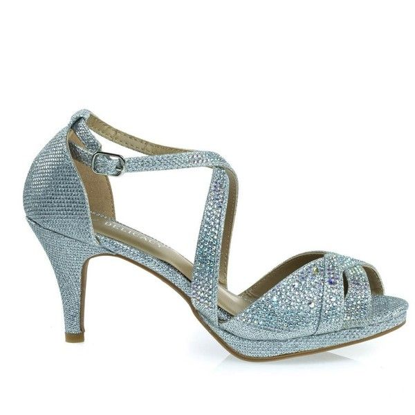 Excited90 Silver by Delicacy, Sparkling Rhinestone Mesh Glitter Dress... ($32) ❤ liked on Polyvore featuring shoes, sandals, low platform sandals, silver dressy sandals, high heel platform sandals, dressy sandals and silver glitter sandals