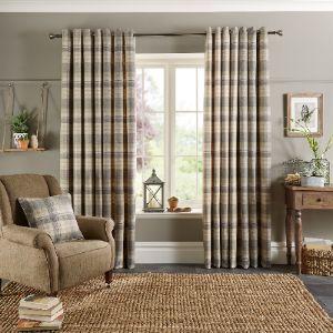 William Check Grey Eyelet Curtains