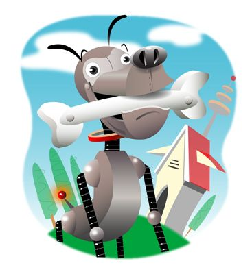 Robot Dog w/Bone. Illustration by Amy Ning, represented by Liz Sanders Agency. lizsanders.com