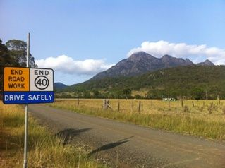 Wouldn't you rather be stuck at road works on the beautiful Mt Barney country roads?!!