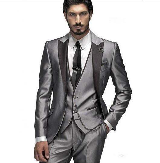 Cheap men wedding, Buy Quality silver suit directly from China tuxedo silver Suppliers: 2017 Custom Made Groom Tuxedo Silver Suit Peaked Lapel Best man Groomsman Men Wedding/Prom Suits Bridegroom Jacket+Pant+Vest+Tie