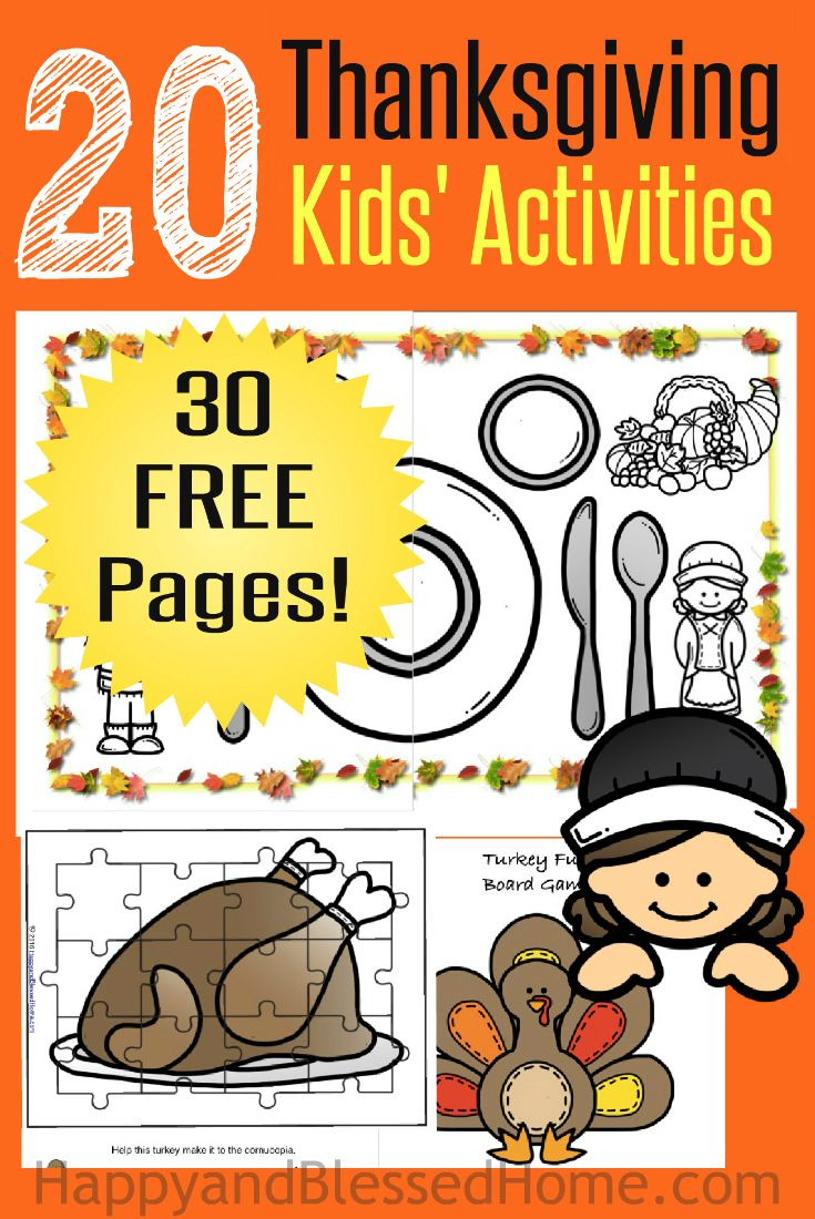 30 Page Thanksgiving Activities for Kids Printable Pack with 4 Puzzle Pages, 8 Coloring Pages, 4 Hats, 1 Turkey themed Board Game, 2 Mazes, name tags