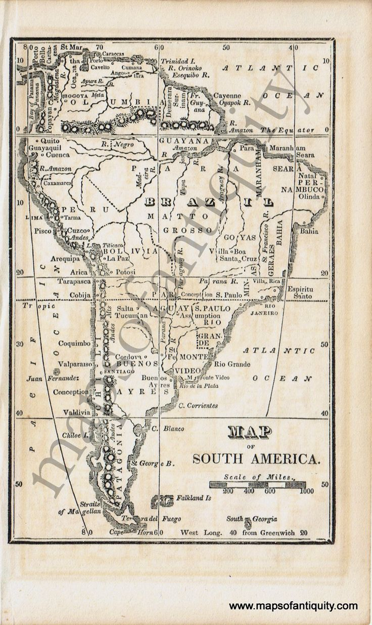 Antique (1830) Map of South America from a very small Boston School Geography textbook.