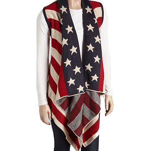 Stars & Stripes Winter Vest Women Poncho American Flag USA America Scarf Winter Fashion Snow