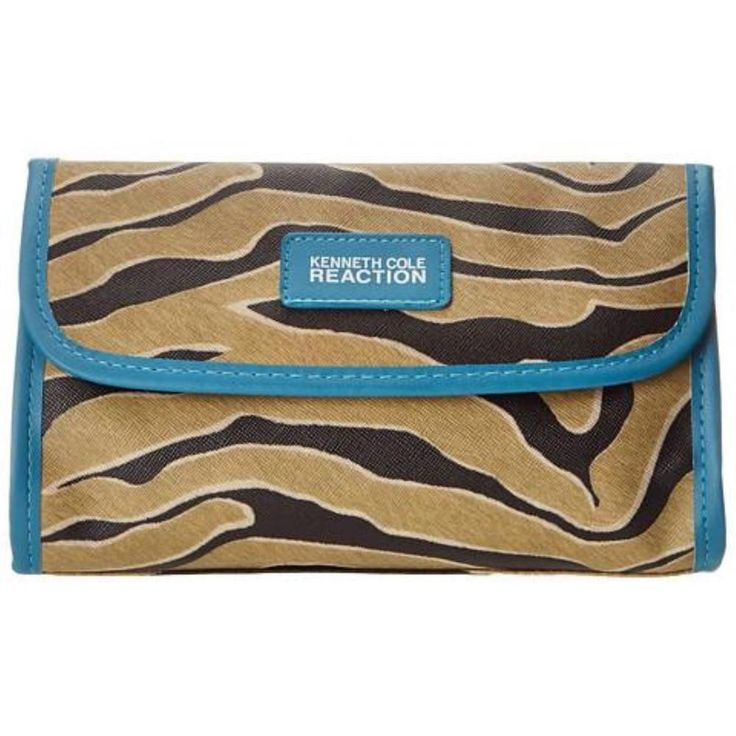 KENNETH COLE Medium Sized Designer Cosmetic Bag ZEBRA Print BLUE & White  #KennethColeReaction