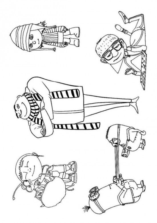 Minion Freinds Despicable Me Coloring Pages 550x778 Picture Disney