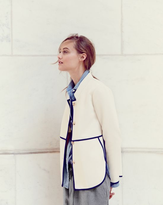 J.Crew women's tipped twill jacket in classic ivory. To preorder call 800 261 7422 or email verypersonalstylist@jcrew.com.