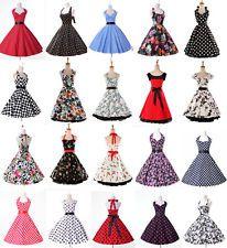 Vintage Womens 50s Pretty Retro Rockabilly Floral/Polka Dots Halter Short Dress