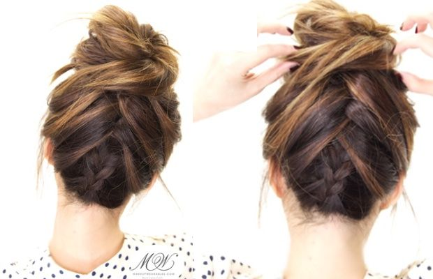 In this step-by-step hair tutorial, I'm going to show you how to create the Tuxedo Braid Messy Bun hairstyle on yourself, for long or medium length hair.