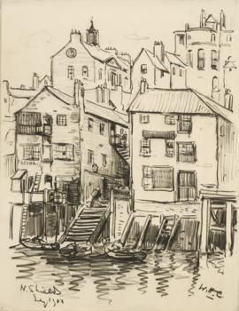 North Shields sketches. Houses, businesses and public houses were crowded together on the Low Street, many built on stilts over the river.