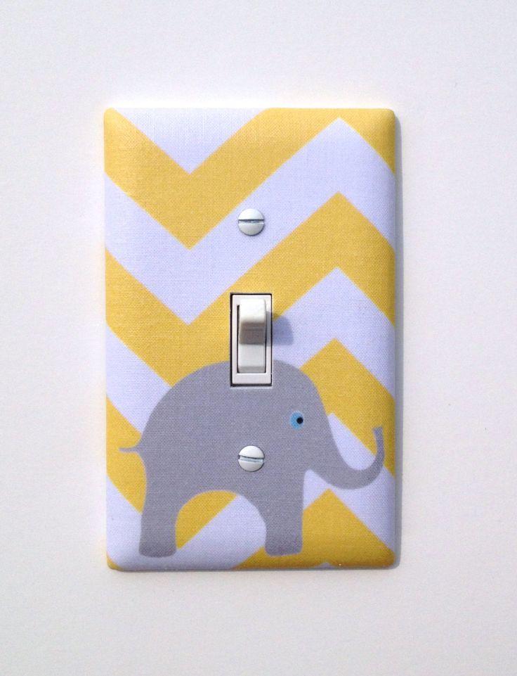 Gray and Yellow Chevron Elephant Light Switch Plate