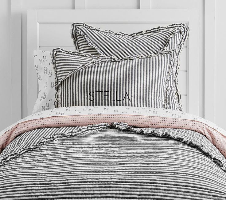 The Emily & Meritt Ruffle Stripe Quilted Bed Linen Bed