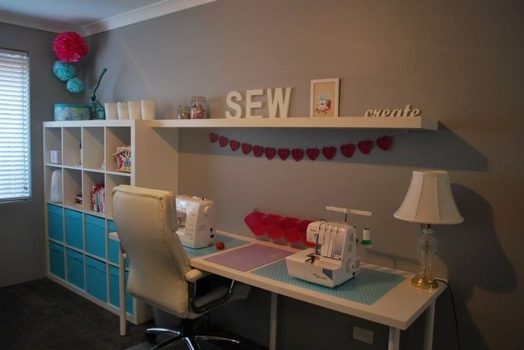 My sewing room  Expedit, desk and shelf from ikea Wall colour is dulux Flooded Gum Prints from Noi