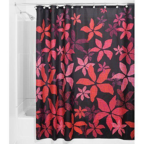 Interdesign 39320EU Tessa Duschvorhang 183 x 183 cm, schwarz / rosa