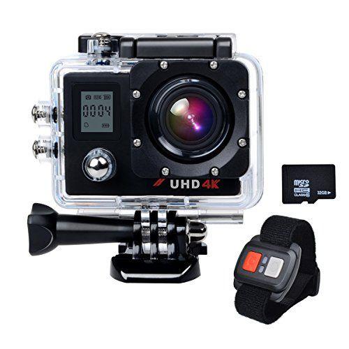 Campark® ACT76 Action Kamera Sports Helmkamera Camcorder 16MP 4K 1080P Wifi mit Dual LCD Bildschirm, 30M Wasserdicht, HDMI, 170 Grad Weitwinkelobjektiv, Handgelenk Fernbedienung, Slow-Motion,2 akku, und Professionelle Kameratasche, 32G Card Enthalt