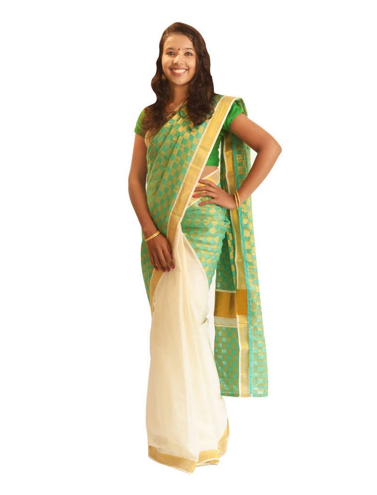 Find perfect  Off-white and green cotton saree with best pricing range. Check out our offers & discounts on sarees