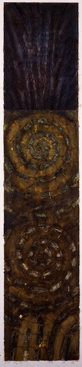 D-31.May.1995   139x30cm  painting, collage on panel  林孝彦 HAYASHI Takahiko 1995    this photo by Galerie Tokyo Humanité