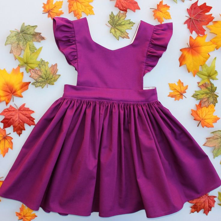 Cora Pinafore Dress in Plum for baby toddler little girl long elbow sleeve cotton handmade button back warm cozy fall winter thanksgiving vintage inspired boutique