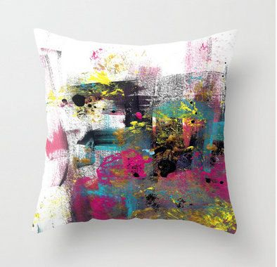 Abstract Throw Pillow Cover in Hot pink, black, white, yellow, teal Modern Home Decor Living room bedroom accessories Cushion