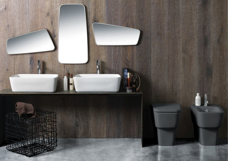 """SIMAS: Degradé — Designed by Terri Pecora, Degradé is a '70s-style inspired line that exhibits soft angles, slim edges, and a trapezium form, to """"downsize"""" sanitaryware and create a sense of space in a bathroom. Stand-out features of this highly functional line include extra small pieces (Degradé XS), a toilet with an easy-fit plumbing system (Degradé Renovate), and a wash basin/sink with an extra deep bowl for multifunctionality. www.simas.it #MO15"""