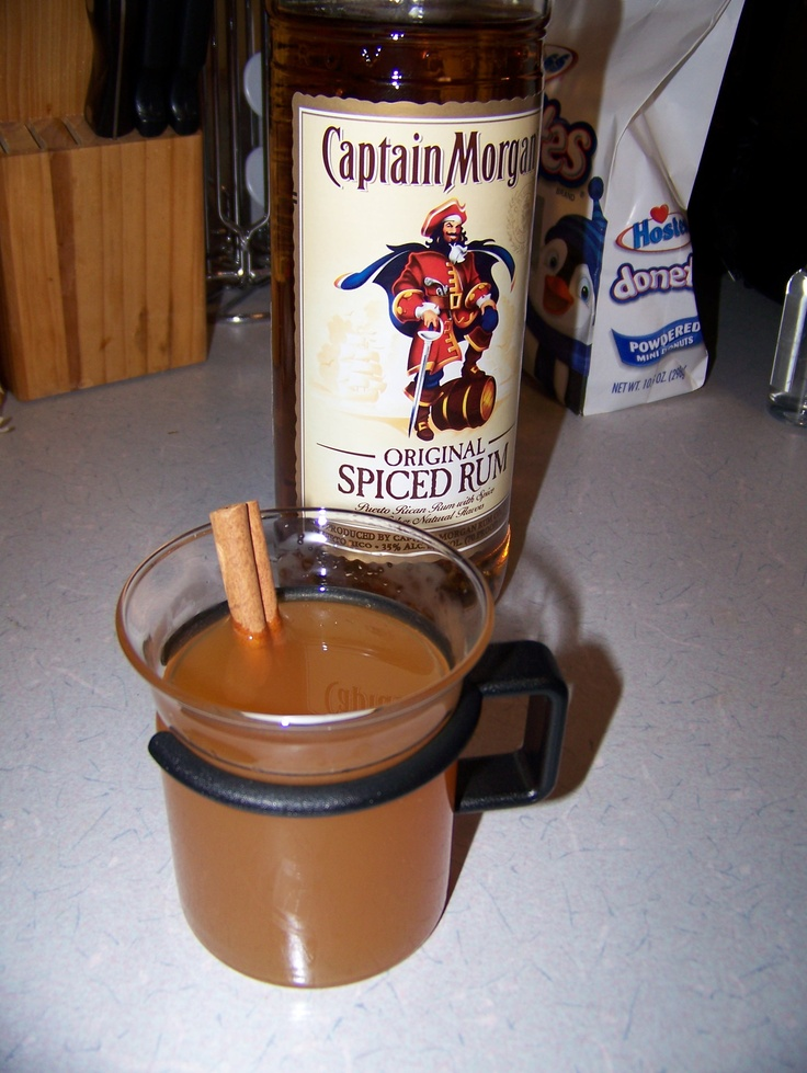 spiked cider! Just cider and Captain Morgan. Optional add cinnamon ...