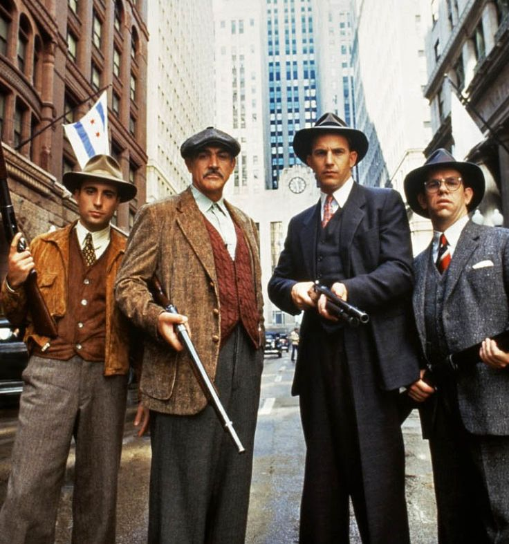 """George Stone, Jim Malone, Eliot Ness and Oscar Wallace in """"The Untouchables"""" (1987)"""