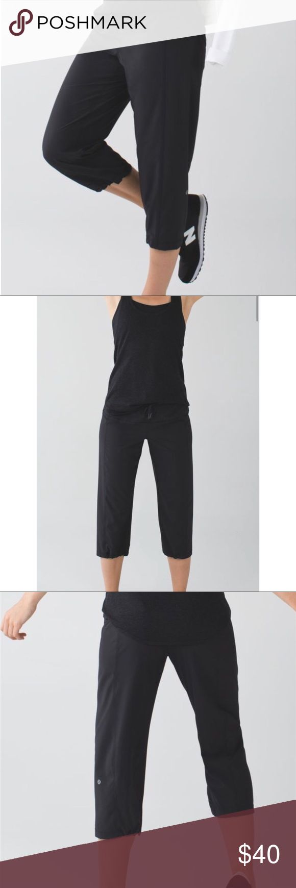 """Lululemon Step Lively Crop * loose fit layers easily to provide extra coverage post-sweat * lightweight Swift fabric is two-way stretch to move with you * cinch the drawcords at the hem to adjust the length * tighten the drawcord at the waist to keep these crops in place * stash your stuff in the secure zipper pocket on the bum * say no to chafing with flat seams * rise: medium * leg fit: loose * inseam: 20 7/8"""" * hem sweep: 17 3/4"""" lululemon athletica Pants Track Pants & Joggers"""