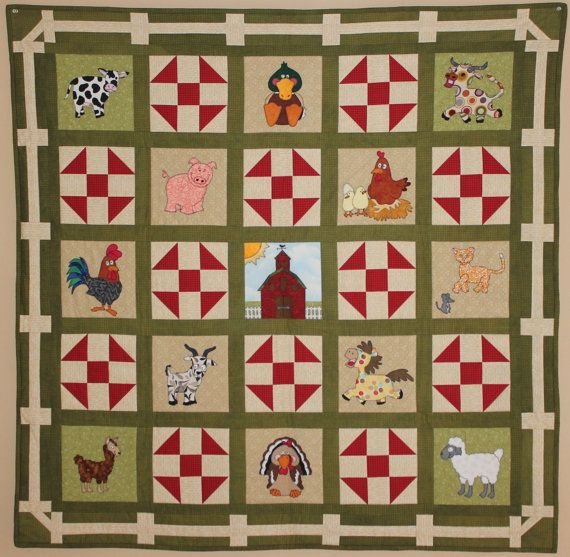 Farm animal applique PDF baby quilt pattern shoo by MsPDesignsUSA