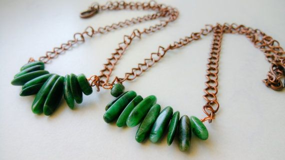 Green Gemstone Necklace Green Gem Boho Necklace by TheaXessorize