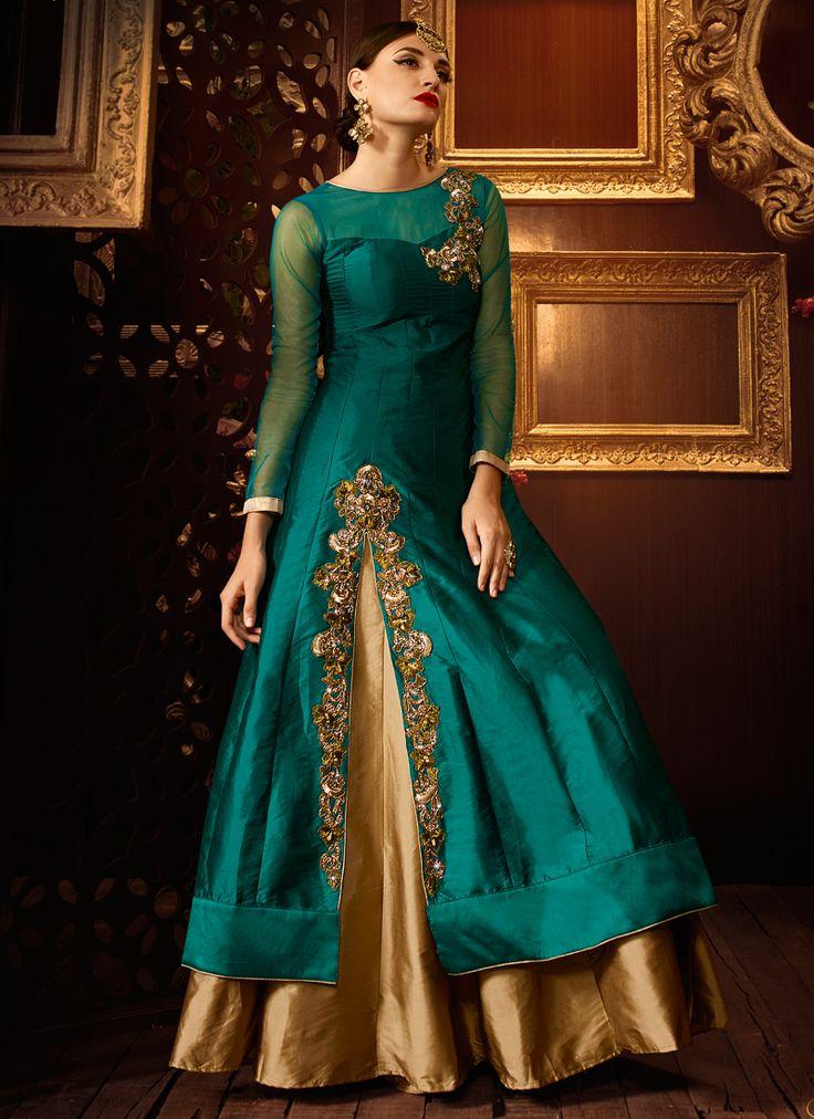 Rama Green Taffeta silk Khatli Work Party Wear Anarkali suit
