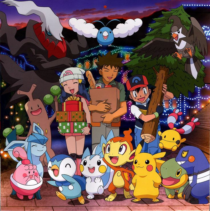 Ash, Brock, and Dawn with their Pokémon