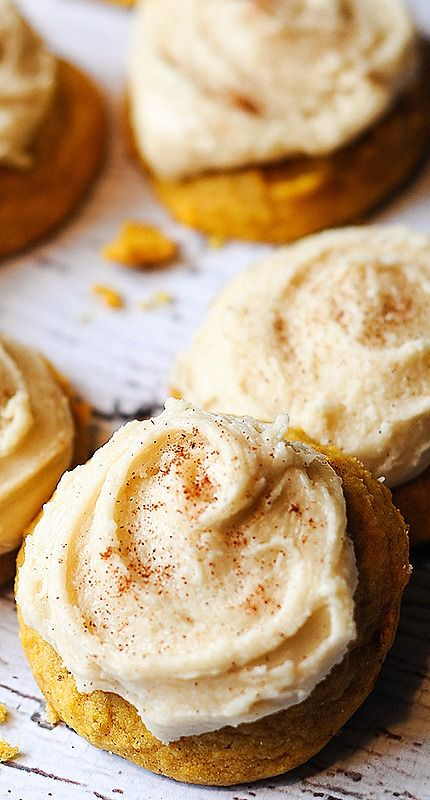 Melt In Your Mouth Pumpkin Cookies- I will 1/2 the recipe and use cream cheese frosting instead
