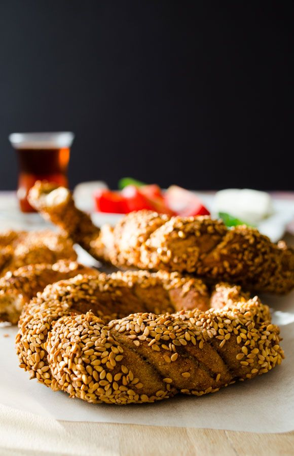 Simit is kind of a bagel which we eat at breakfast or as snack with white cheese and tomatoes #turkish #recipe