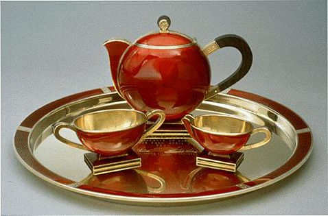 Tea set, by David Andersen, Oslo, Norway, ca. 1930s  Gift to President Roosevelt from Olav and Märtha, the Crown Prince and Princess of Norway