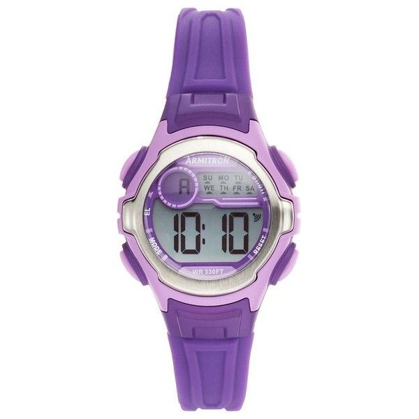 Armitron Women's Sport Digital Chronograph Watch (1.595 RUB) ❤ liked on Polyvore featuring jewelry, watches, purple, digital watch, armitron watches, sport chronograph watch, water resistant watches and digital sport watch